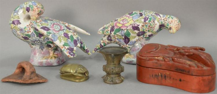 Group of Asian items to include a pair of Japanese enameled painted birds (lg. 12