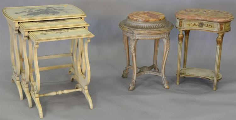 Nest of three paint decorated tables. tallest: ht. 26in., top: 17
