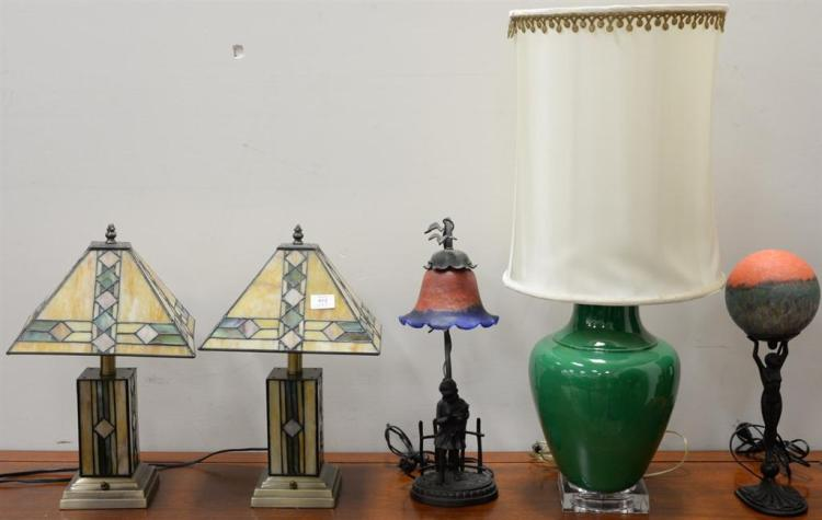 Five contemporary lamps including two figural lamps with art glass shades, pair of leaded glass lamps with matching shades, and a gr...