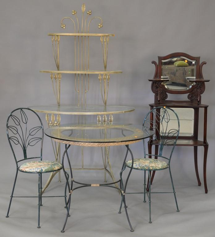 Five piece lot to include glass top table and two chairs, marble top ice cream parlor table, and a glass top etagere.