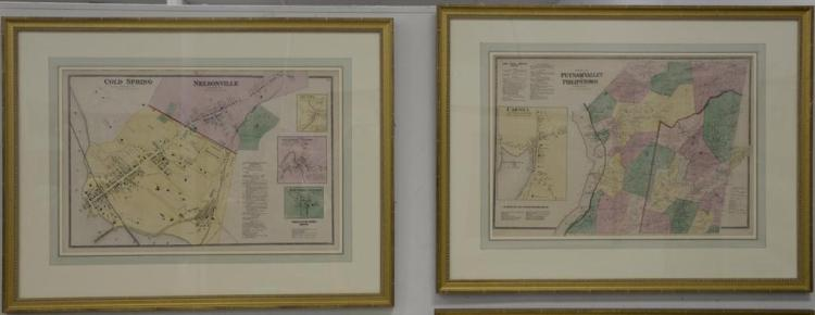 Five framed maps of New York and Vicinity by Beers Ellis and Soule Publishers, double hand colored engraving Fordham, Hastings Dobb'..