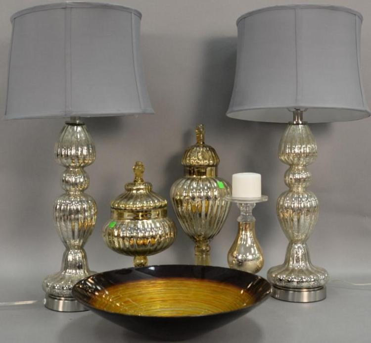 Six piece contemporary group including pair of mirrored lamps (one as is), two pair of mirrored urns, candlestick, and an art glass ...