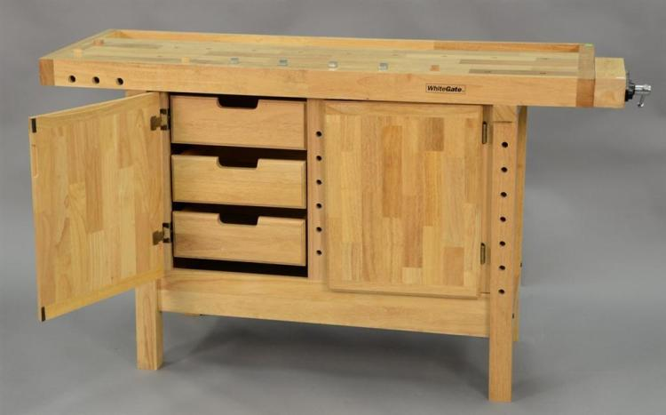White Gate woodworker's work bench. ht. 34in., top: 26