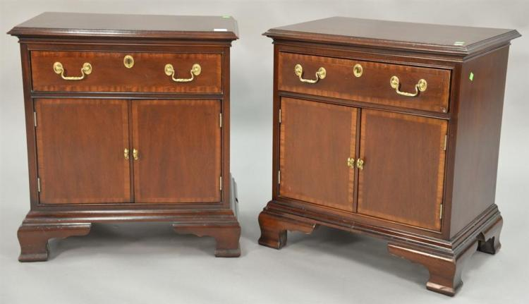 Council pair of mahogany bedside stands. ht. 26in., top: 16