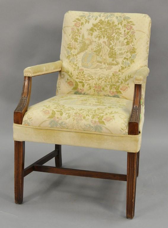 Mahogany Chippendale style armchair with pictorial romantic scene upholstery.