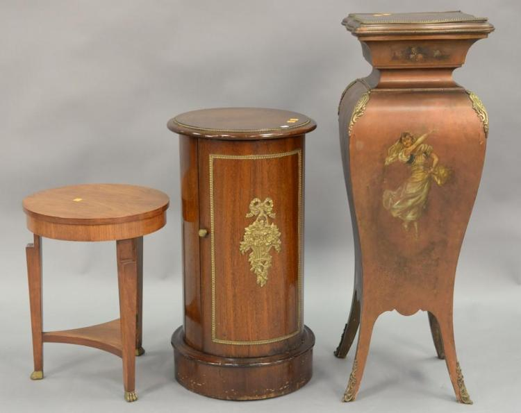 Three piece lot including two pedestals, one with door, and a small Baker stand. pedestals: ht. 29in. & 39in.
