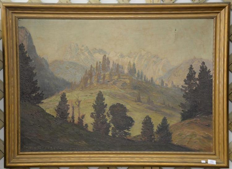Alexander Scherban (1886-1964) oil on canvas fall landscape signed lower left: Alex Sherban Wien 1920, small tear top left and right...