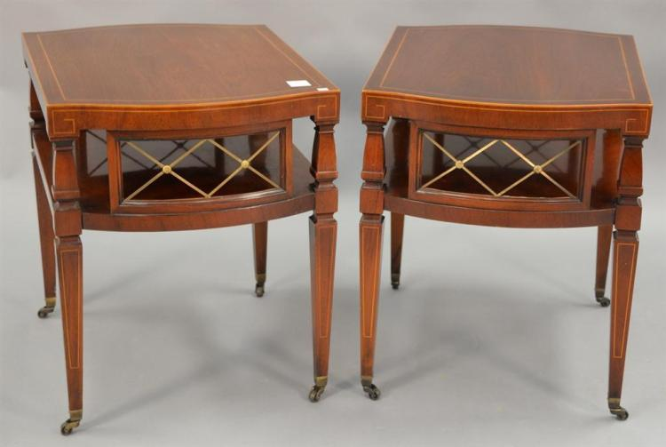 Two mahogany Weiman end tables.