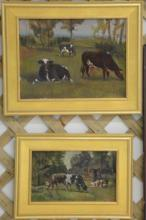 Three piece lot to include a pair of Farm landscape oil on board paintings with cows unsigned (7 3/4