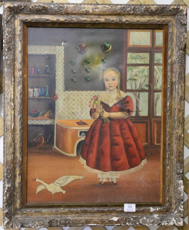 Agapito Labios (1898-1996) oil on canvas folk art interior girl holding flowers, signed lower right A. Labios, 23 1/2