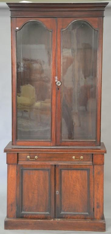 Victorian two part bookcase/cabinet (one glass cracked). ht. 90in., wd. 41in.