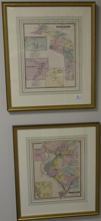 Six Atlas of New York and Vicinity hand colored engraved map including Patterson, Mamaroneck, Bedford, Lewisboro, Tremont, and Cortl...