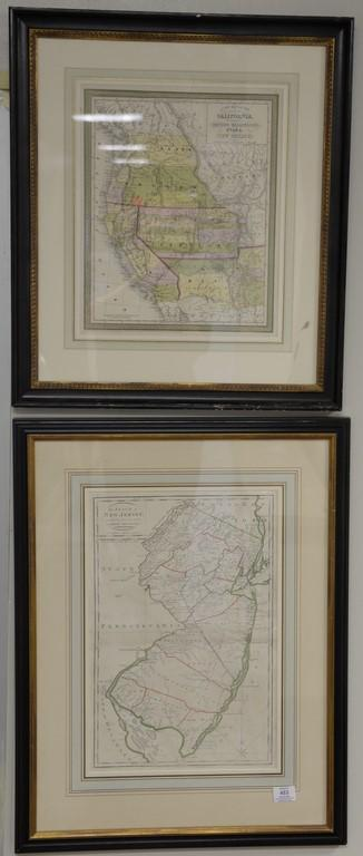 Group of four framed colored engraved maps including two The State of New Jersey Comilied from the most Authentic Information, Carey...