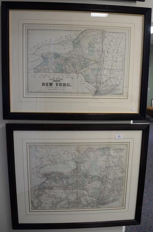 Three handcolored engraved double page maps of New York including one Drawn by Lucas engraved by Welch, a Plan of the State of New Y...