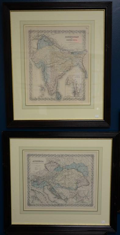 Seventeen Joseph H. Colton handcolored engraved maps from Colton's Atlas of the World including France, Japan, Italy, Scotland, Cana..