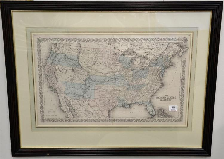 Two handcolored engraved souble page large folio maps including The United States of America and Map of New York and the Adjacent Ci...
