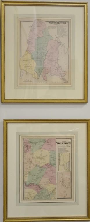 Four handcolored engraved maps Atlas of New York and Vicinity including Brooklyn, Yorktown, Westchester, and Yonkers. sight size 16...