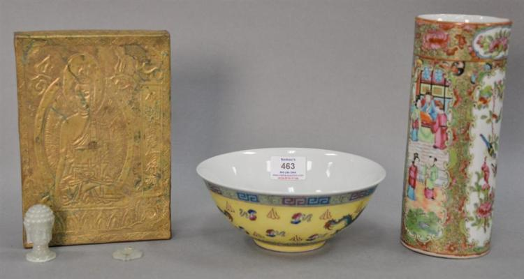 Group of Asian items to include Famille Rose bowl with yellow ground, Rose Famille sleeve form vase, embossed brass block, and two h...