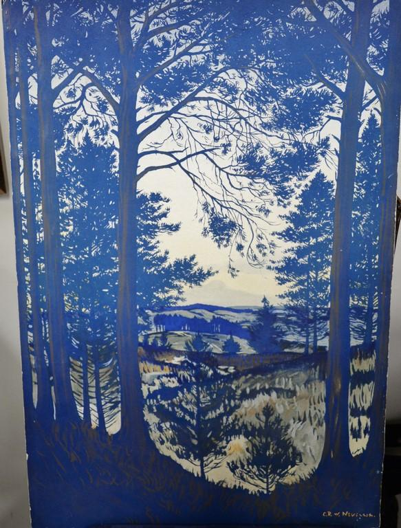 Christopher Richard Wynne Nevinson (1889-1946) colored lithograph wooded landscape, signed in litho: CRW Nevinson, 30