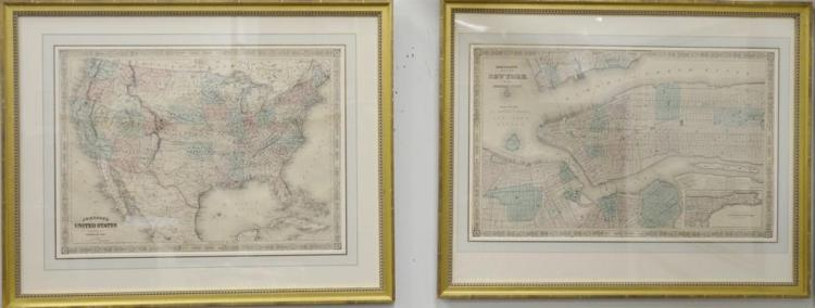 Four double folio handcolored engraved maps including Johnson's map of United States, map of New York, Massachusetts/Connecticut, an..