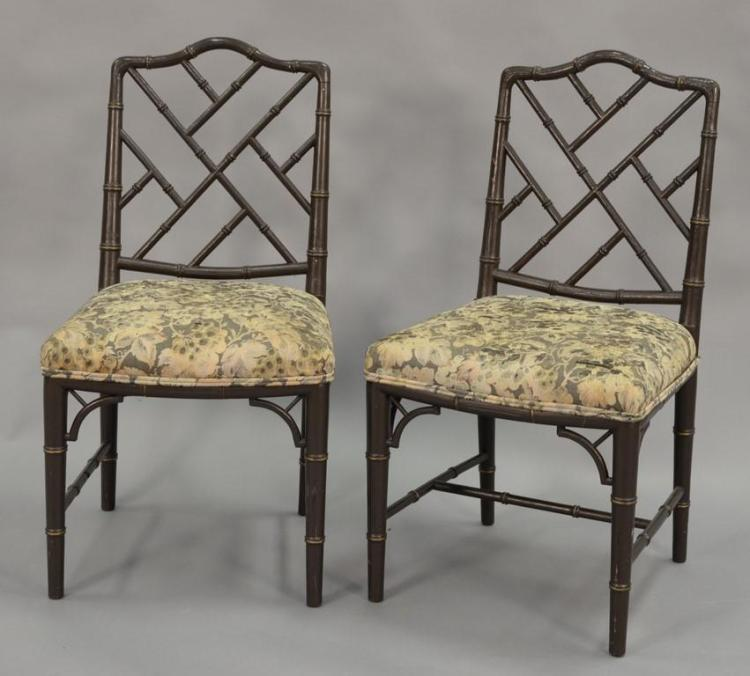 Set of five bamboo style chairs.