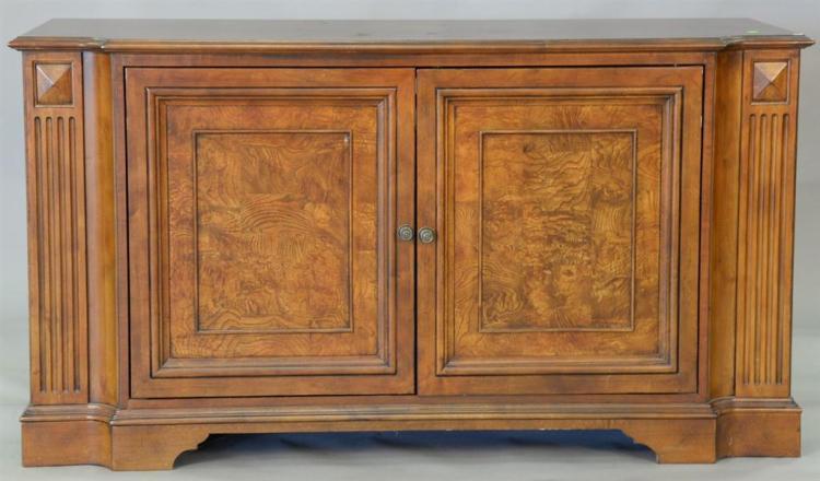 Cherry and burlwood two door cabinet. ht. 36in., top: 23