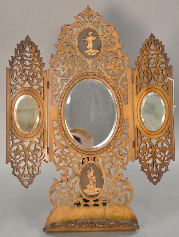 European reticulated carved dresser mirror with inlaid plaques and folding panels. ht. 22 1/2in.