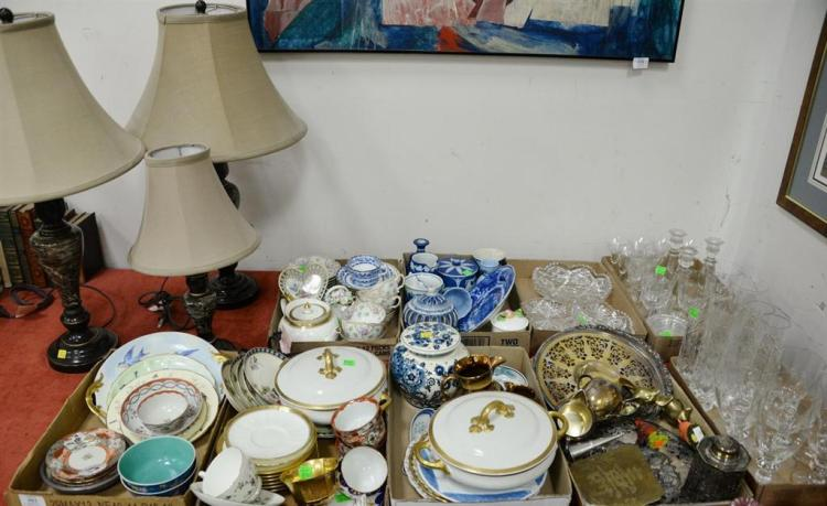 Ten tray lots of cut glass, crystal, Wedgwood, Coalport, porcelain, etc.