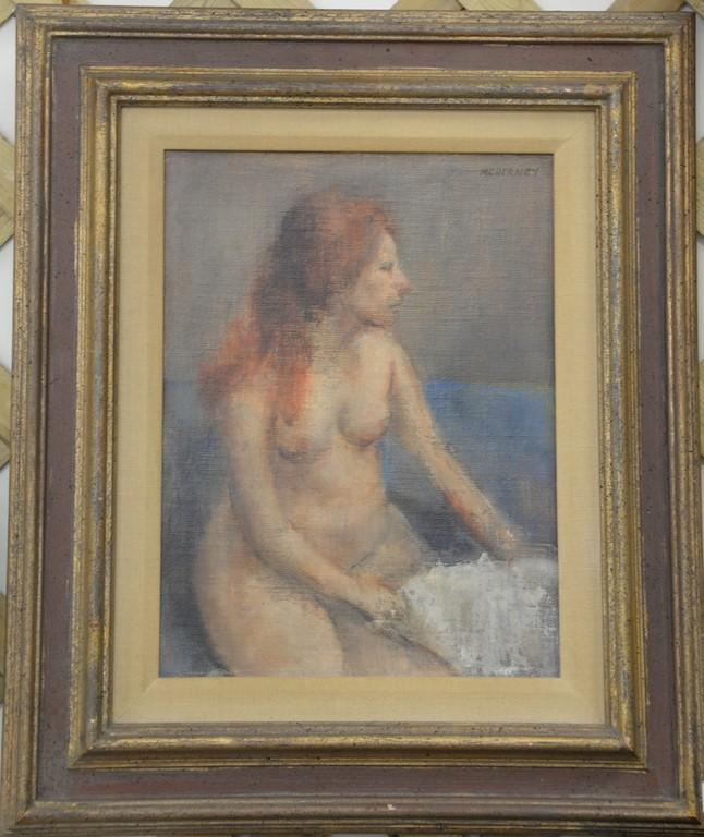 Marvin Cherney (1925-1966) oil on masonite of nude woman signed top right: M. Cherney, 14