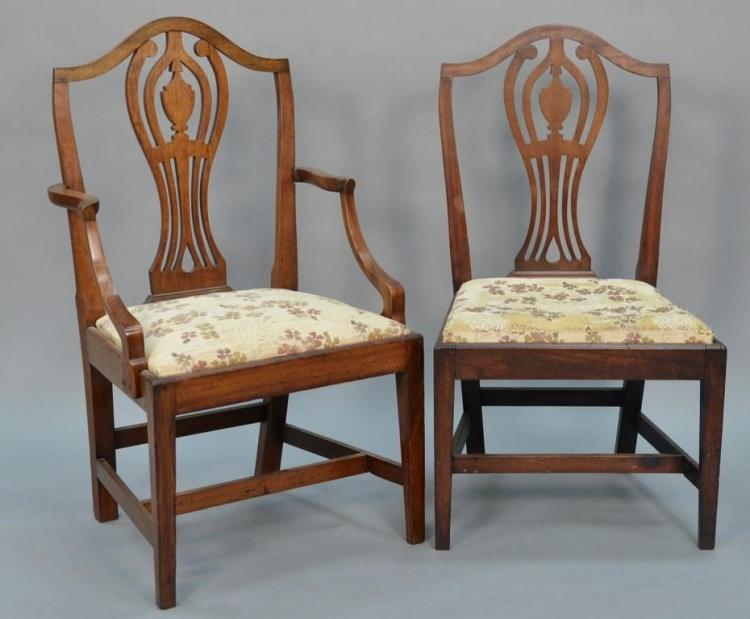 Set of six federal mahogany dining chairs each with ct style