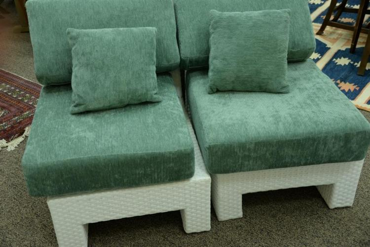 Veneman breeze collection bright white seven piece sectional for Tela sofa exterior