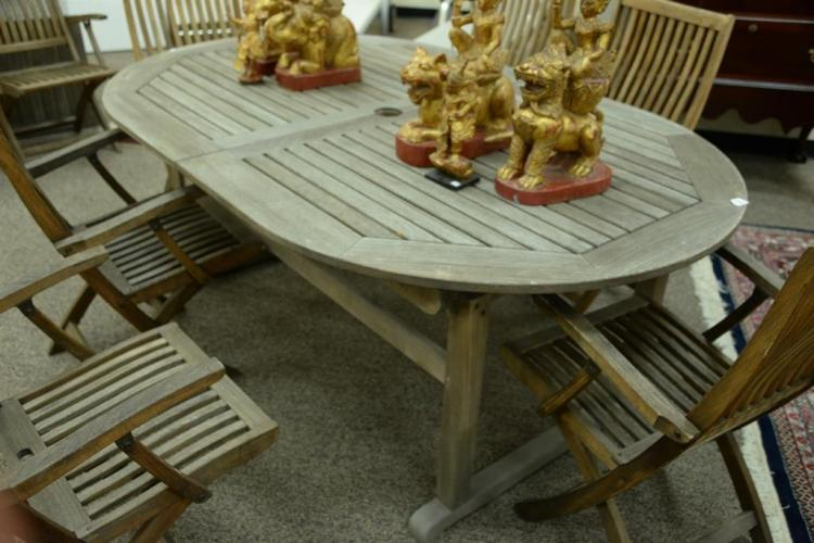 Kingsley Bate Teak Patio Dining Table With One 22 Leaf Ht