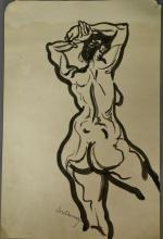 Joseph Samuel Delaney (1904-1991) watercolor and inkwash on paper Nude study signed lower left Josi Delaney. 17 3/4