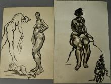 Joseph Samuel Delaney (1904-1991) two watercolor and ink on paper Nude Figure Studies signed lower left Josi Delaney. 15