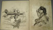 Joseph Samuel Delaney (1904-1991) two pencil and crayon on paper including Bust of a Nude and Game with Figures, both signed Josi De...