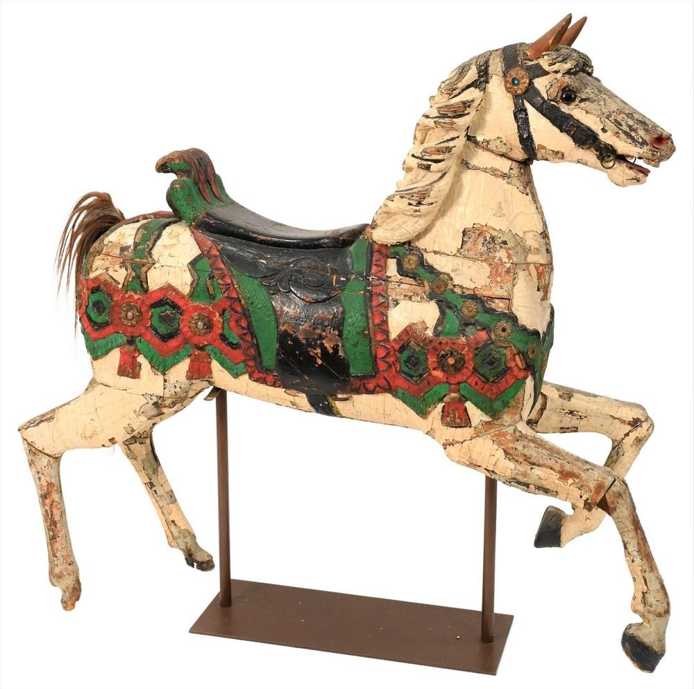 Painted Carousel Horsehaving several layers of paint 19th/20th centuryheight 52 inches, length 54 inches