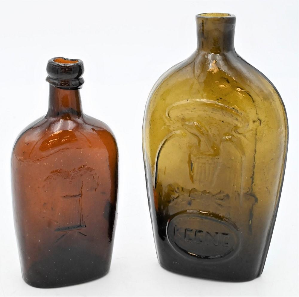 Two Flasksto include Keene Glassworks flask with eagle and Masonic reverse, along with one Westford Glass Companytallest 7 1/4 inc...