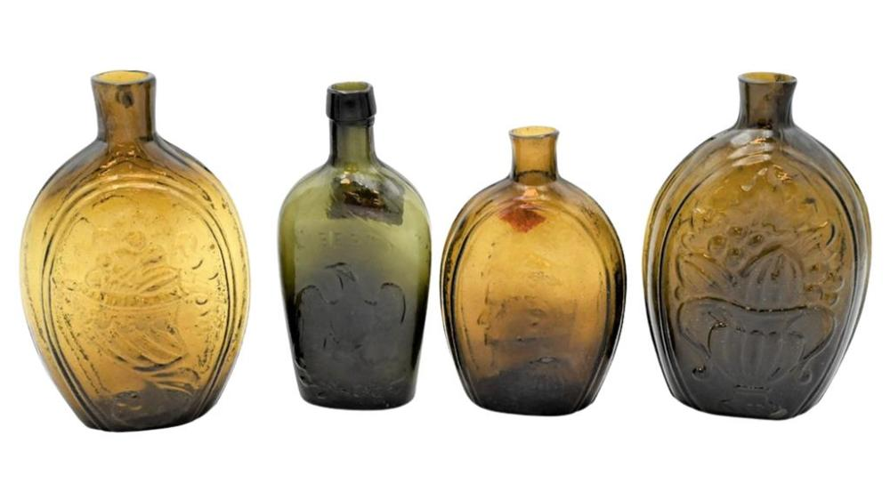 Four Various Flasks to include one having Jackson and George Washington, one WIllington Glass Company along with one cornucopia, et...