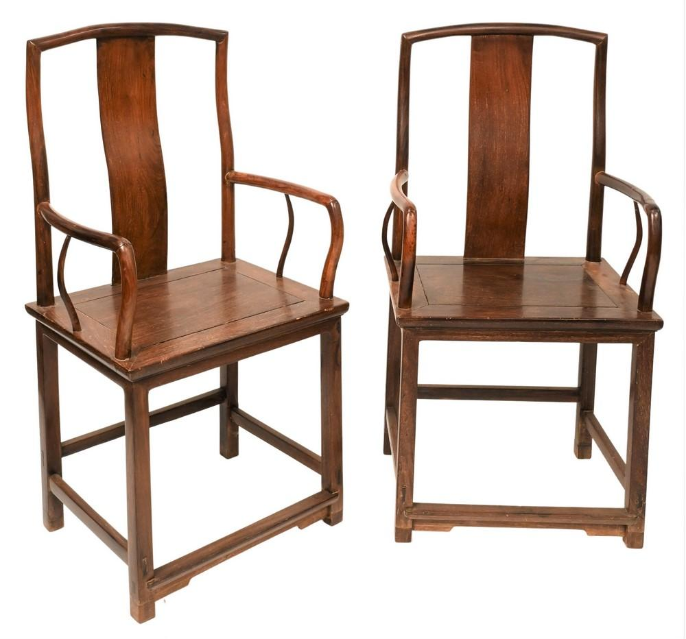 Pair of Zitan Wood Chinese Armchairsheight 41 inches, width 21 inches