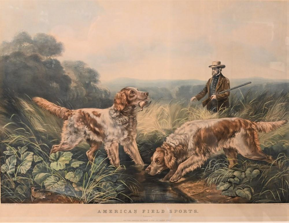 """Currier and Ives after Arthur Fitzwilliam TaitAmerican, 1819 - 1905""""American Field Sports, Retrieving""""lithograph in colors on pap..."""