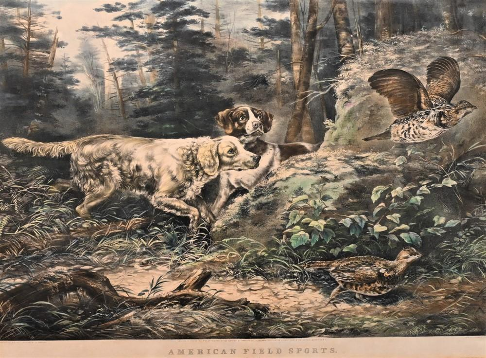 """Currier and Ives after Arthur Fitzwilliam Tait""""American Field Sports, Flushed, 1857""""lithograph with hand coloring on paper inscrib..."""