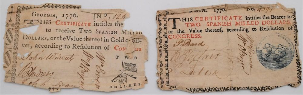 """Two Georgia Colonial Paper Currency Notes or Banknotes 1776 marked """"This certificate intitles the bearer to two Spanish milled d..."""