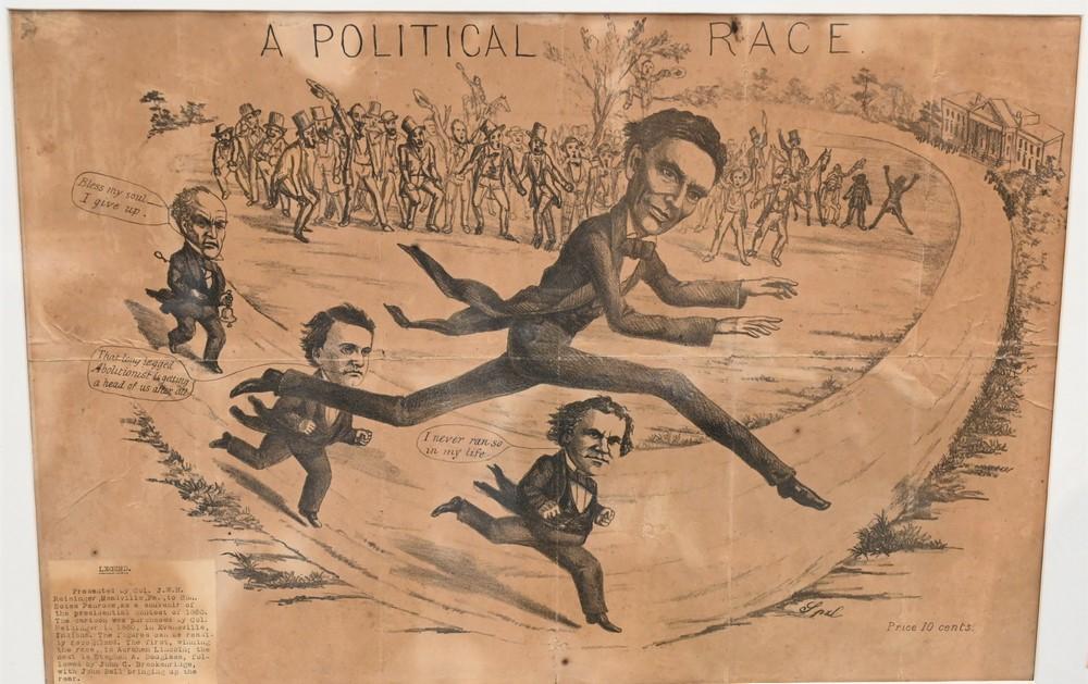 "Large Framed Political Cartoon""A Political Race""showing Abraham Lincoln beating John Bell, John Breckinridge and Stephen Douglas i..."