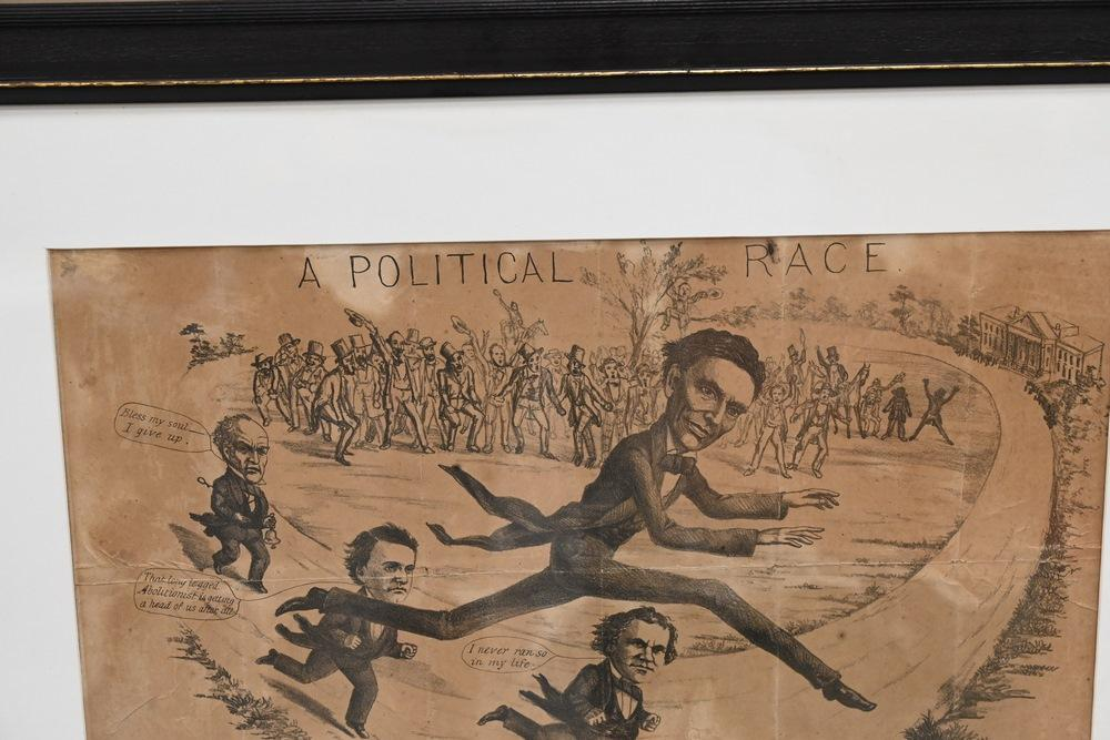Large Framed Political Cartoon