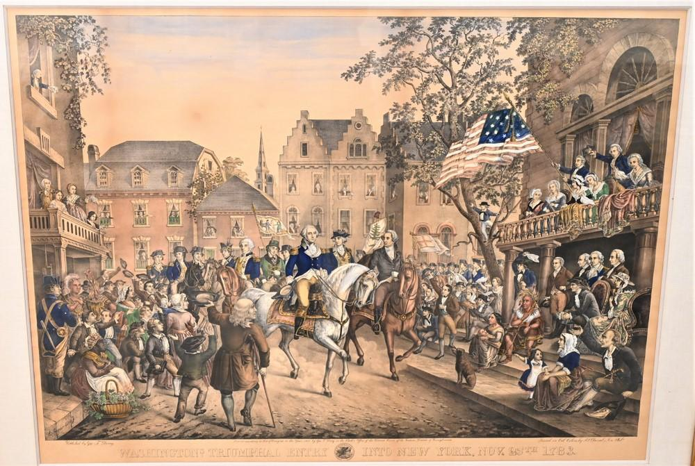 """After Christian Inger""""Washington's Triumphal Entry into New York, 1783""""lithograph on paper with handcolorcirca 1860 or laterimag.."""