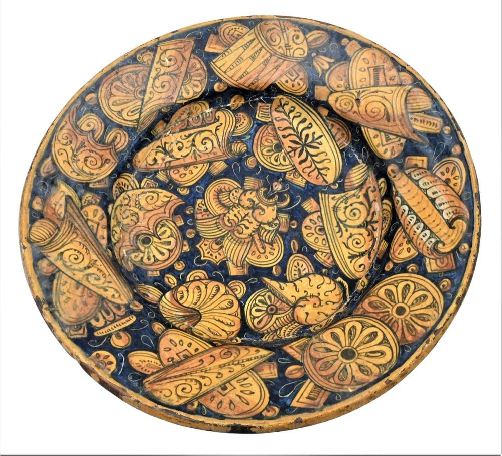 Italian Majolica Polychrome Decorated BowlCastel Durante basin formhaving wide circular sloping rim, cobalt blue ground decorated ...