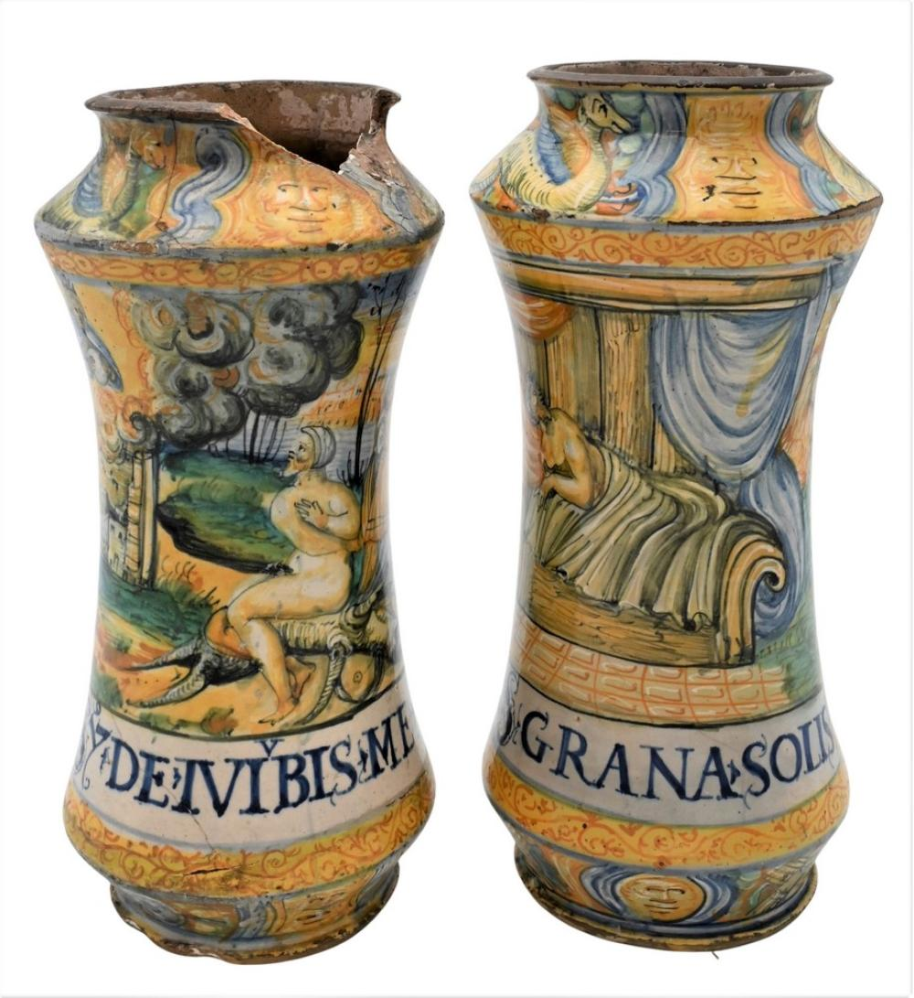 Pair of Majolica Polychrome Decorated Vessels Albarello and Castel Durante cylindrical form depicting figures and animals in a l...