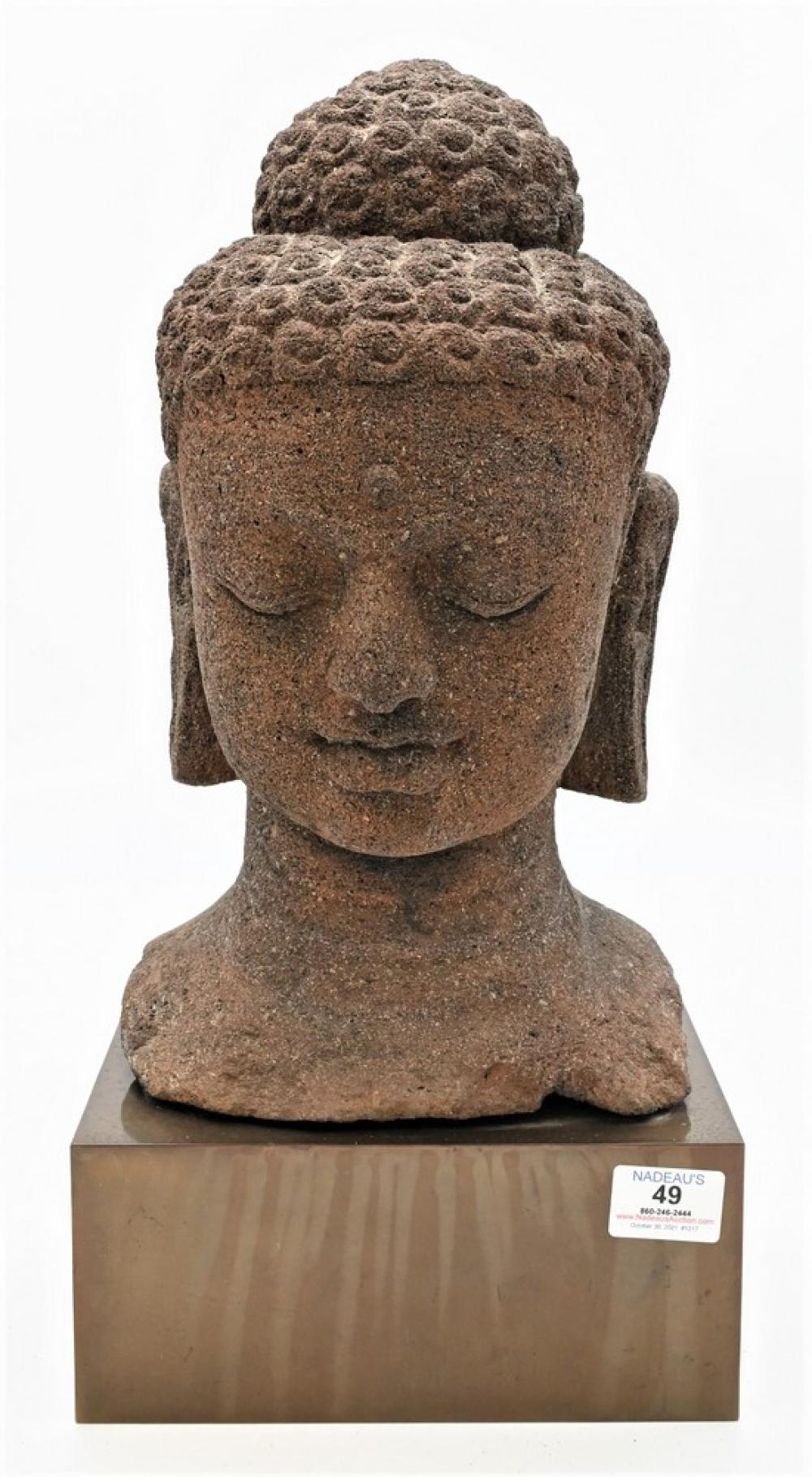 Large Carved Sandstone Head of a Buddhasitting on pedestal baseheight 18 1/2 inches