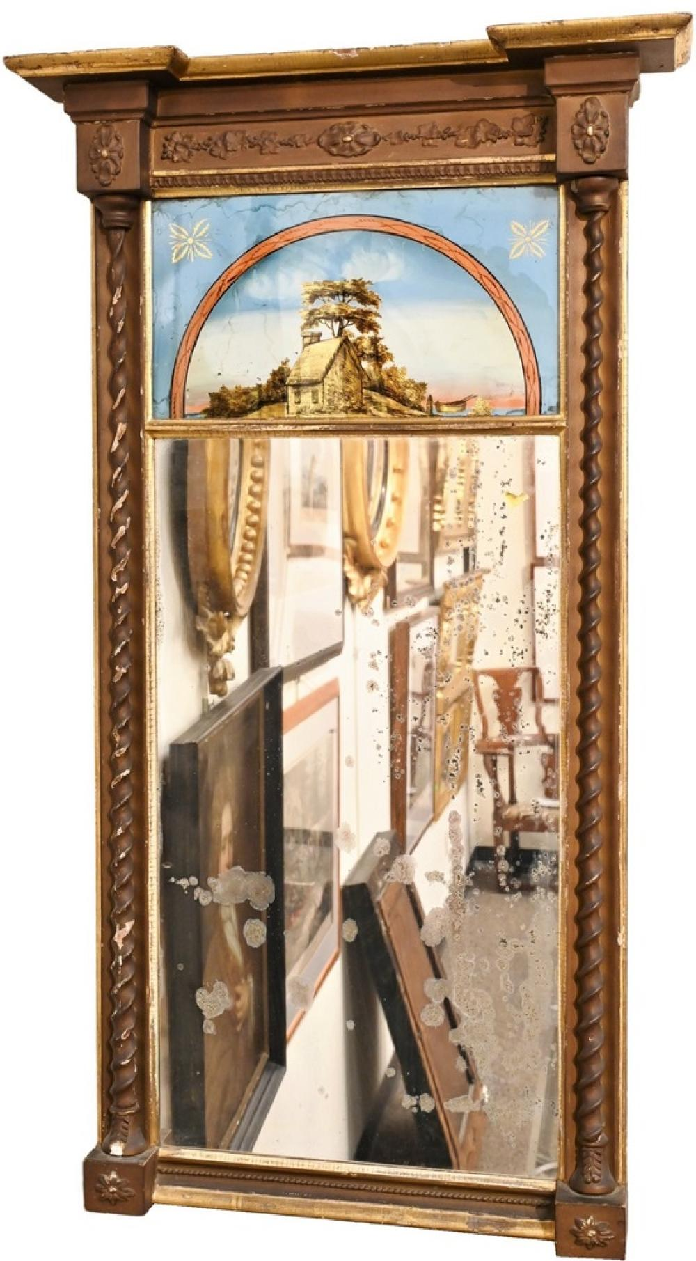 Federal Mirrorhaving eglomised panel over rectangular mirror housed in gilt frame overall 49 1/4 x 27 inches