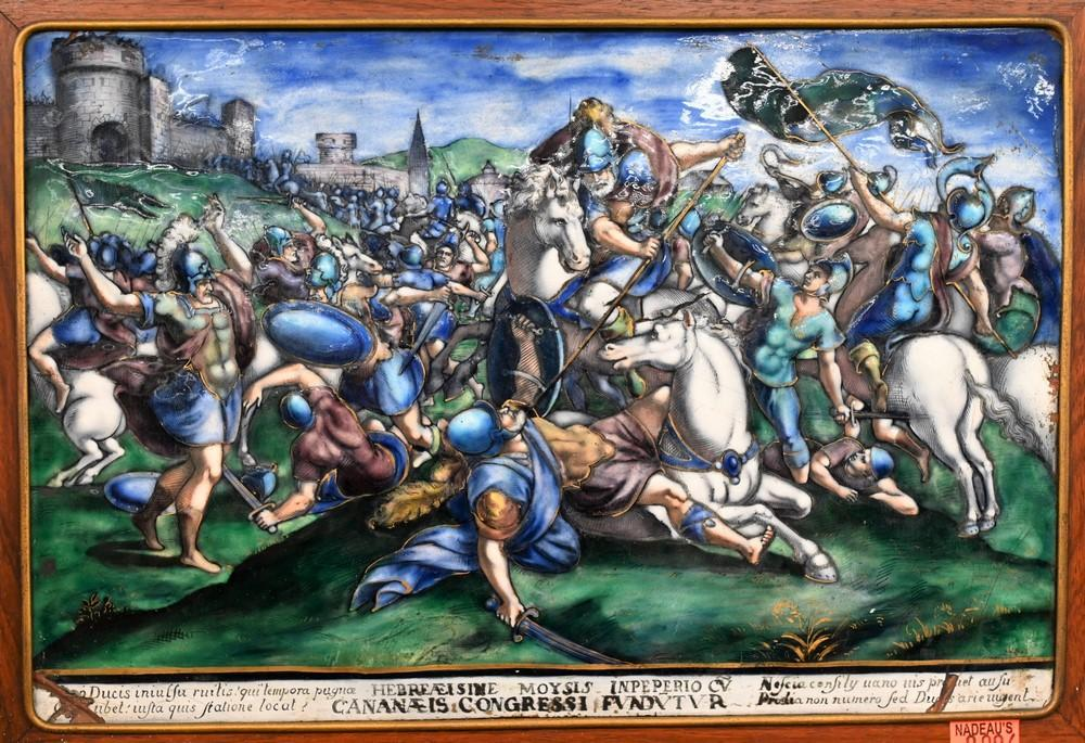 Limoges Painted Enamel Plaque of The Battle at Cannaeprobably 18th century or earlierdepicting numerous figures in Roman dress ast...
